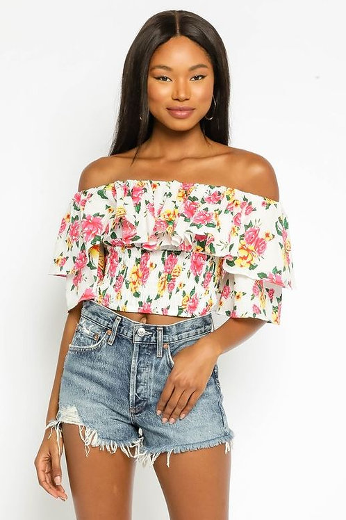 Don't Wait Up Floral Cropped Top