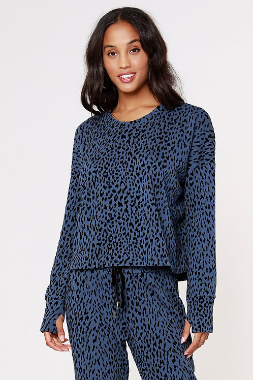Bobi Leopard Flocked Sweatshirt