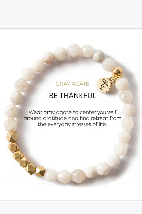 Gray Agate Be Thankful Bracelet