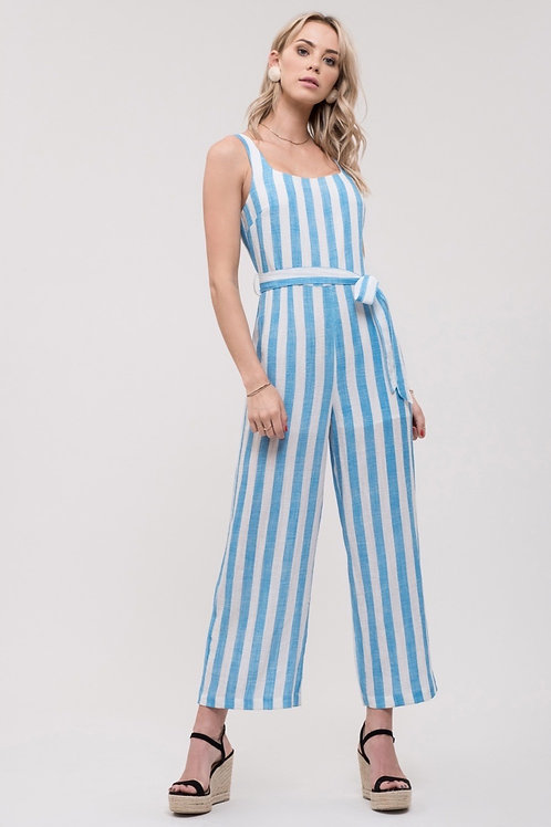 J.O.A. Blue Stripe Jumpsuit