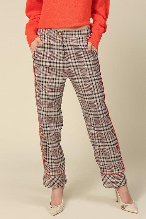 Line & Dot Quinn Side Contrast Plaid Pants