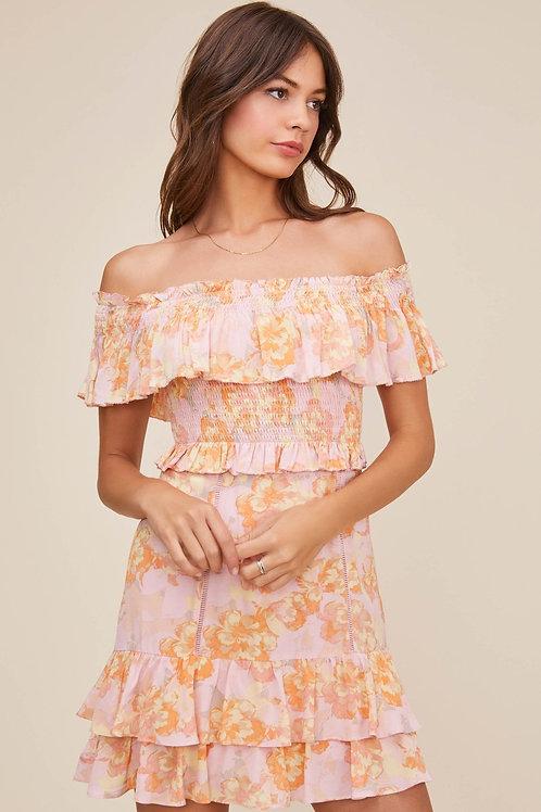 ASTR Riviera Floral Off the Shoulder Dress