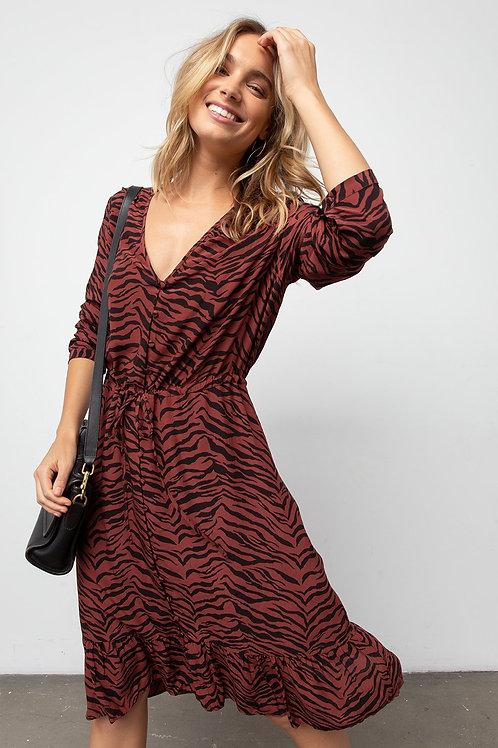 Rails Jade Rust Tiger Stripe Midi Dress