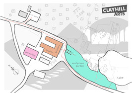 Map flyer of Clayhill designed by Megan Wakelam