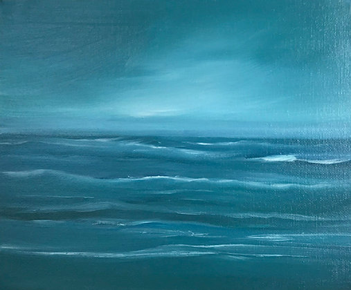 'Evening Waves' (Oil on canvas) 25.5 x 20 cm