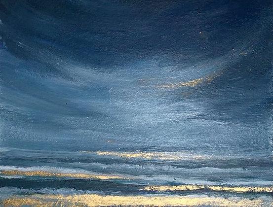 'Golden Waves' (Oil on Wood) 9 x 7 cm