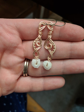 Maeve Earrings - Rose Gold with Druzy