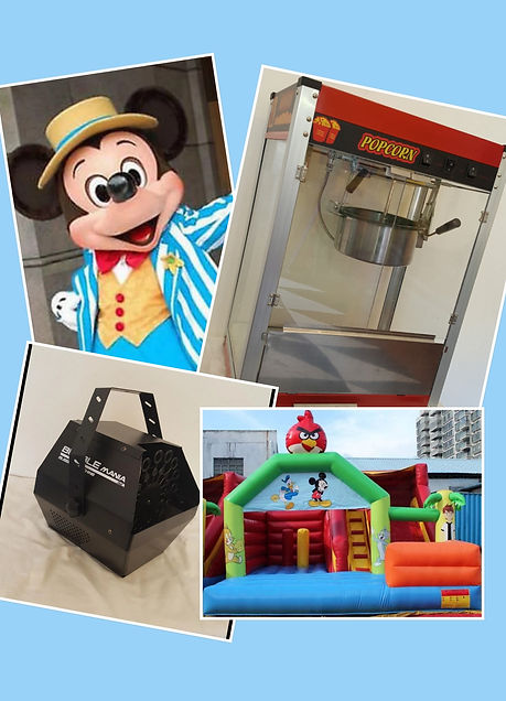 mickey mouse costume hire, popcorn machine hire, angry birds jumping castle hire, bubble machine hire, party hire sydney