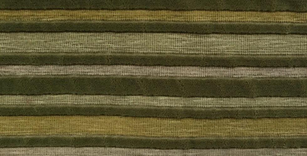 Green /Yellow Velvet like Stripe