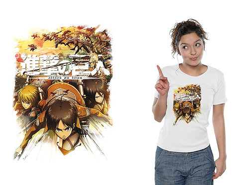 Attack On Titan - Crew Fight - Weiß (T-Shirt - Ladies)