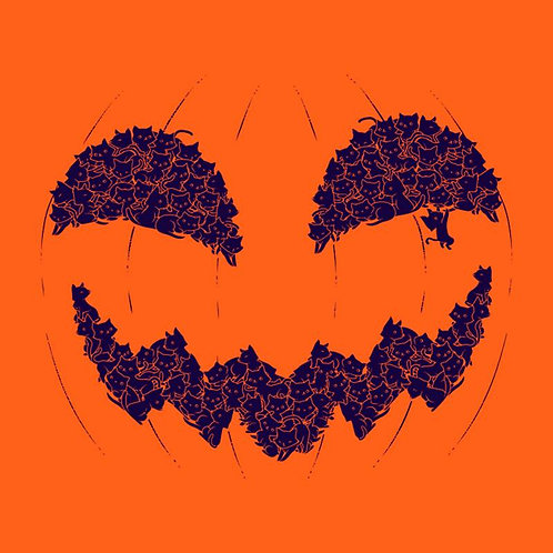 Halloween Pumpkin Cat (T-Shirt | Ladies S - XL)