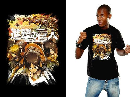 Attack On Titan - Crew Fight - Schwarz (T-Shirt - Unisex)