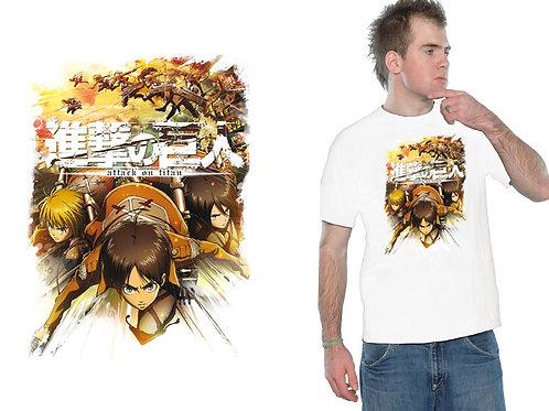Attack On Titan - Crew Fight - Weiß (T-Shirt - Unisex)
