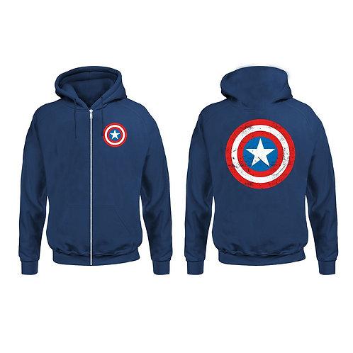 Captain America - Shield Logo - Marvel (Zipped Hoodie - Unisex)