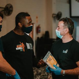 Joel Smith and Siya Kolisi from the Kolisi Foundation
