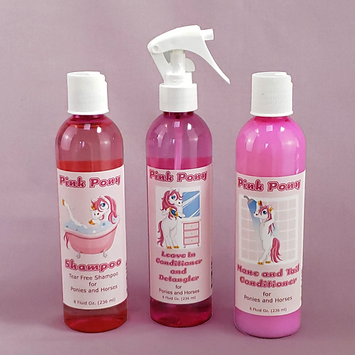 Pink Pony Shampoo, Conditioner, and Leave In Detangler Set