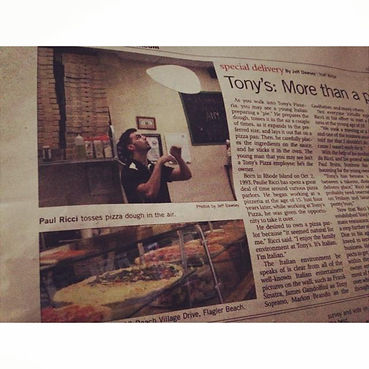 Tony's Pizza - Flagler Beach Newspaper Article