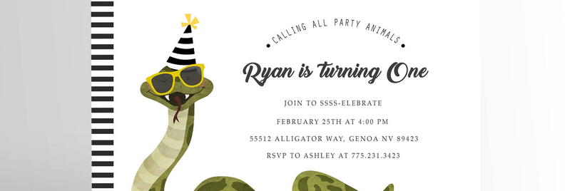 Party Animal Invitation Snake