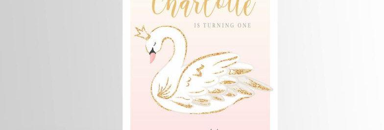Swan Invitation Pink & Gold V2