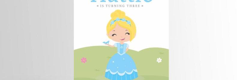 Modern Princess Invitation Cinderlla V3