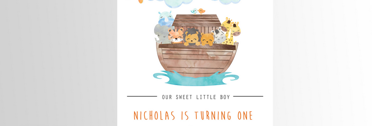 Noah's Ark Party Invitation Sun
