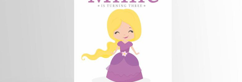 Modern Princess Invitation Rapunzel