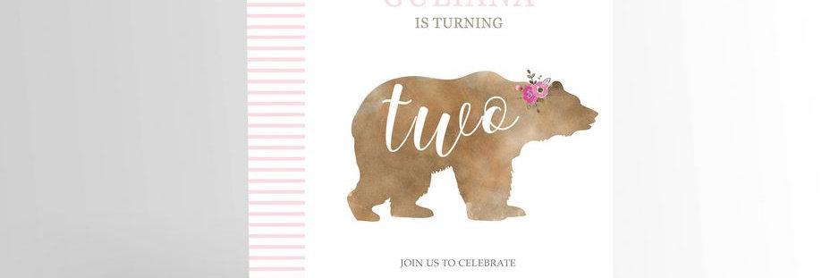 Modern Girl Bear Invitation V2