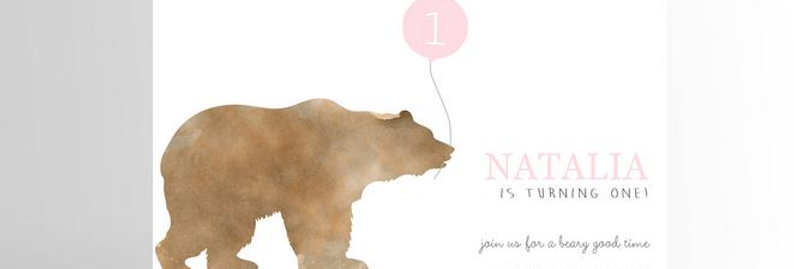 Modern Girl Bear Invitation