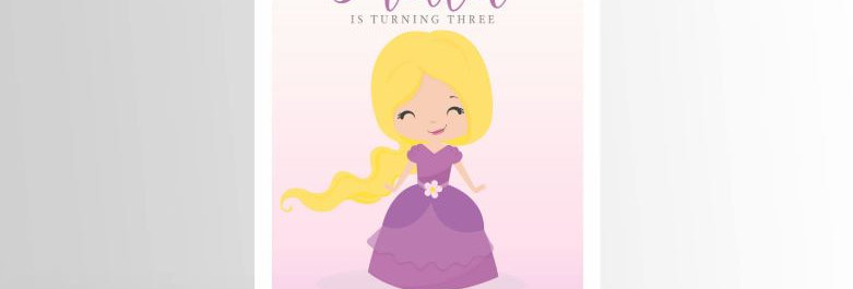 Modern Princess Invitation Rapunzel V2