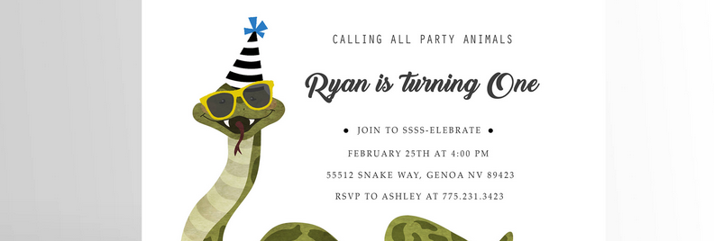 Party Animal Invitation Snake V2