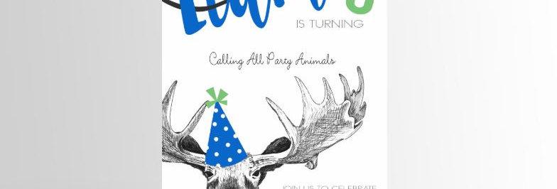Party Animal Invitation Moose
