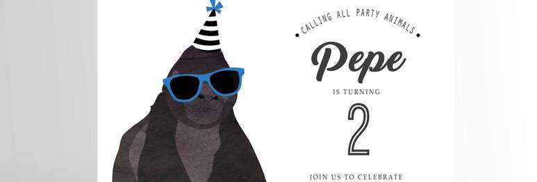 Party Animal Invitation Gorilla
