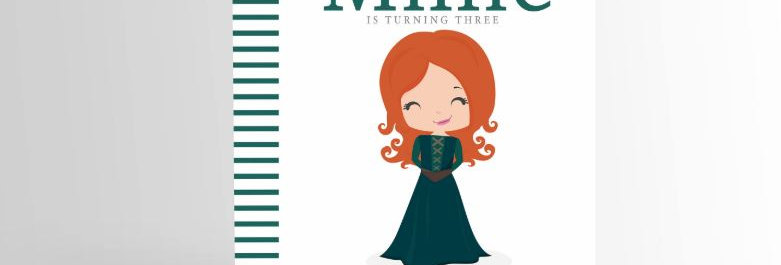 Modern Princess Invitation Merida