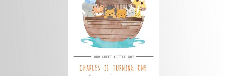 Noah's Ark Party Invitation Simple