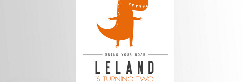 Modern Dinosaur Invitation Orange