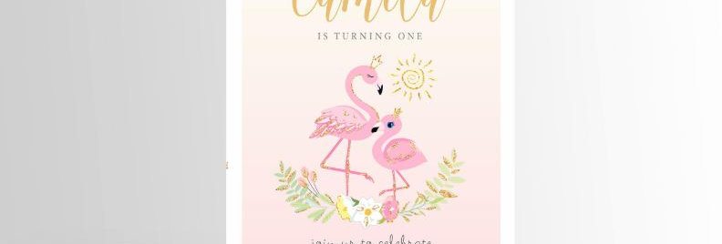 Flamingo Invitation Pink & Gold