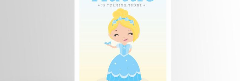 Modern Princess Invitation Cinderella V2
