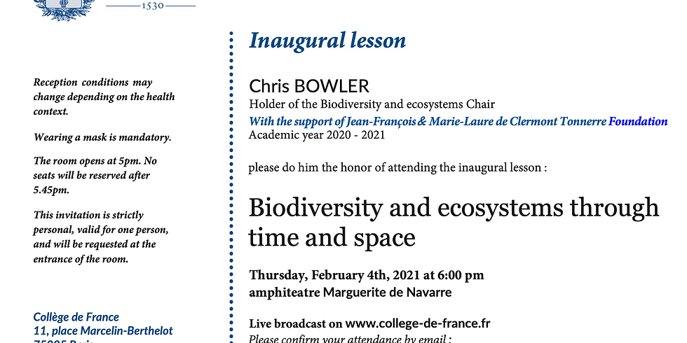 Inaugural presentation of theBiodiversity and EcosystemsChair jointly created by the Collège de France and the JF & ML