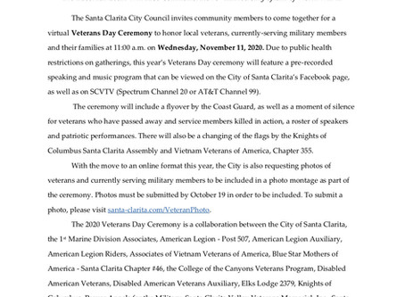 2020 Veterans Day Online Ceremony