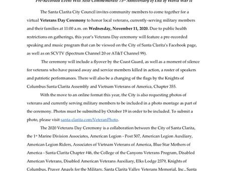 2020 Veterans Day Online Ceremony