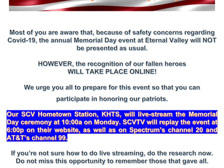 Memorial Day May 25, 2020 Live Stream