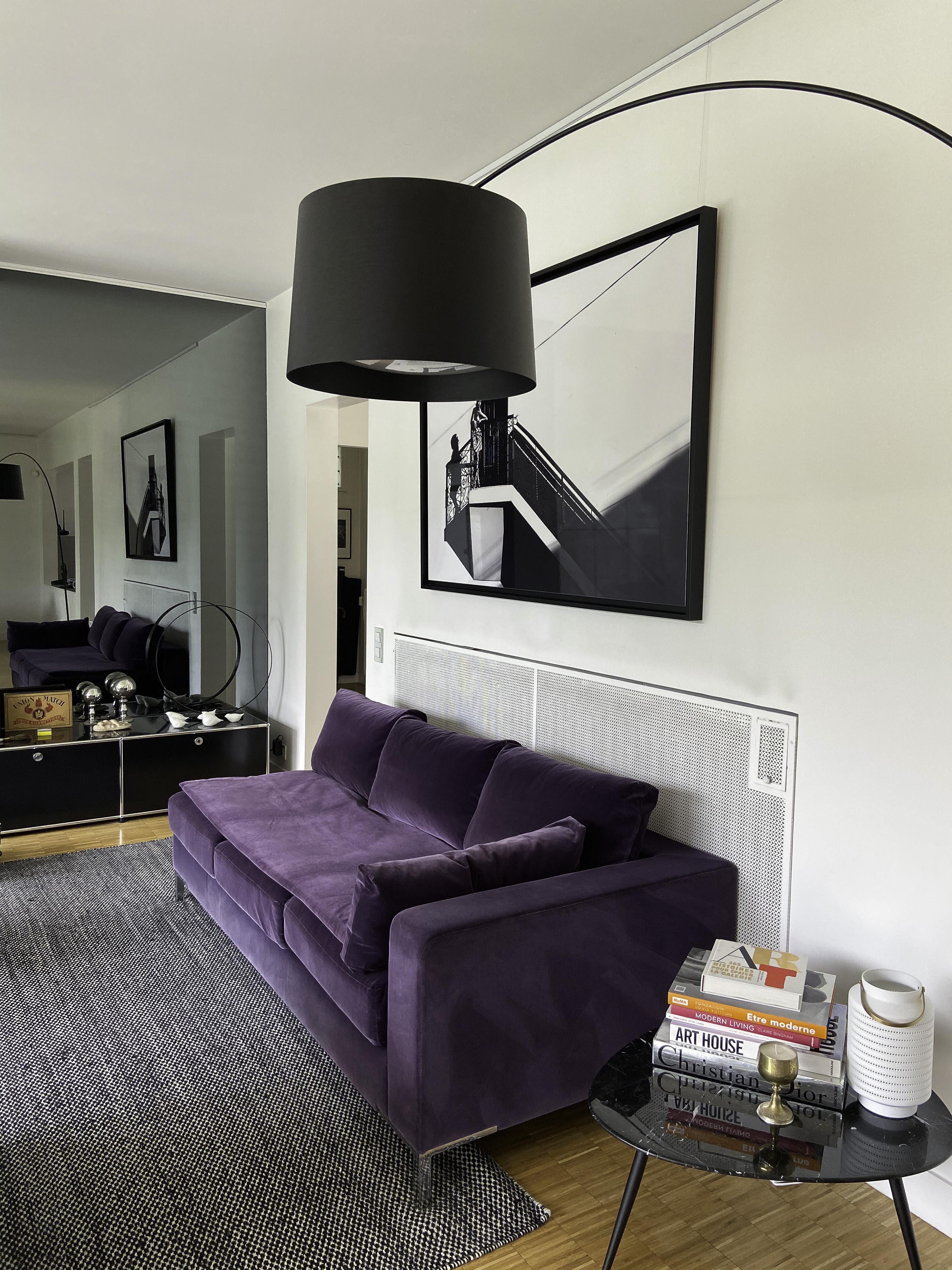 Méridienne velours violet sur-mesure