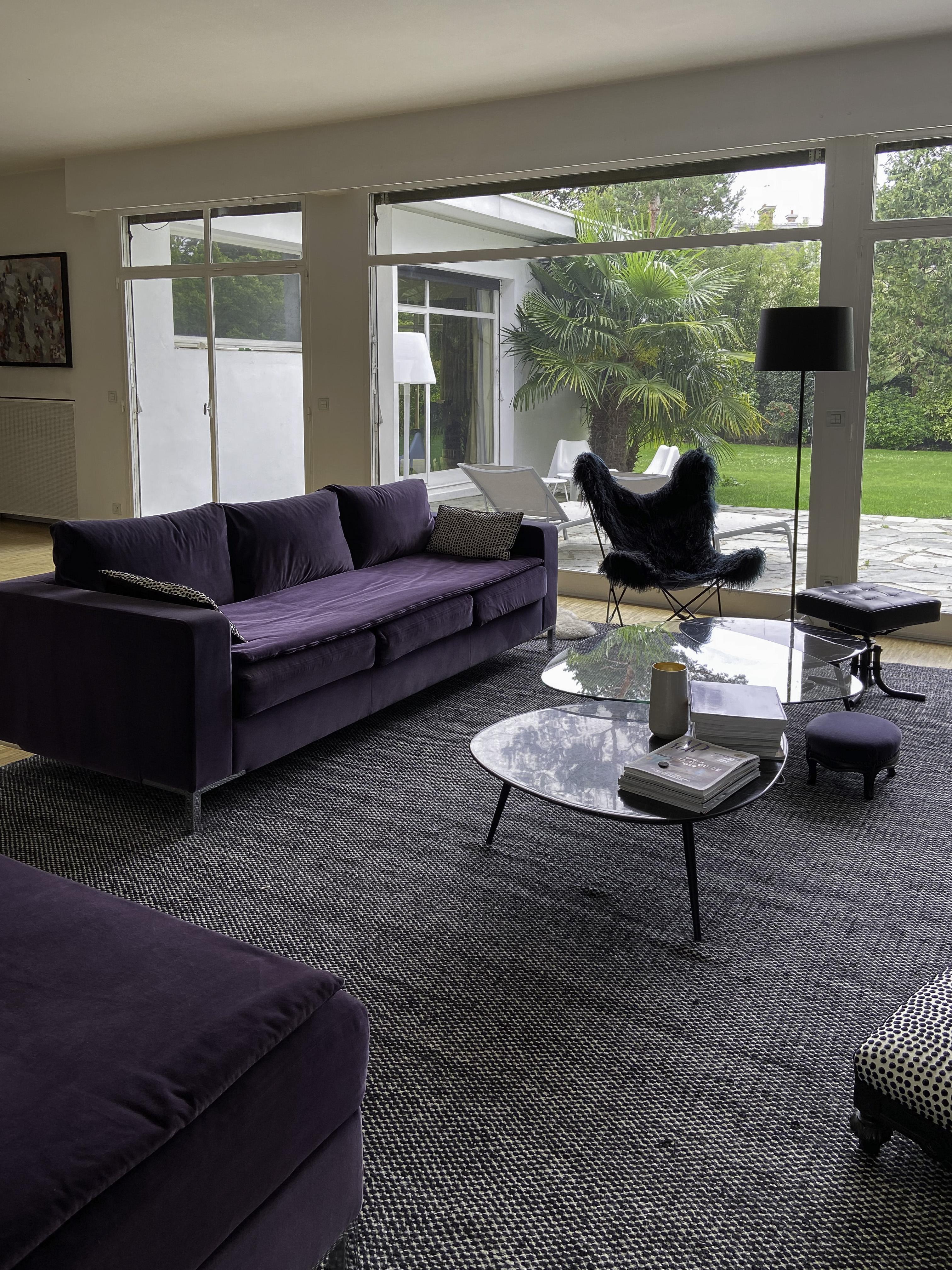 Canapé velours violet sur-mesure