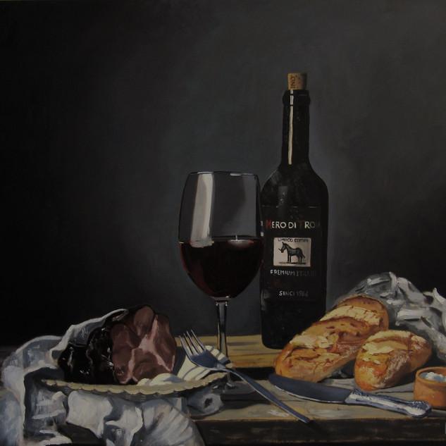 Nature morte pains et vin