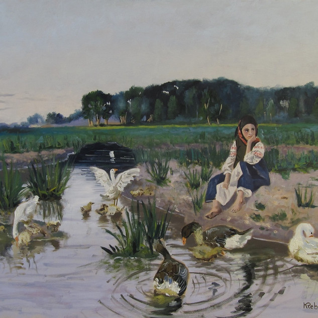Jeune fille s'occupant d'oies