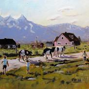 Les enfants et les vaches