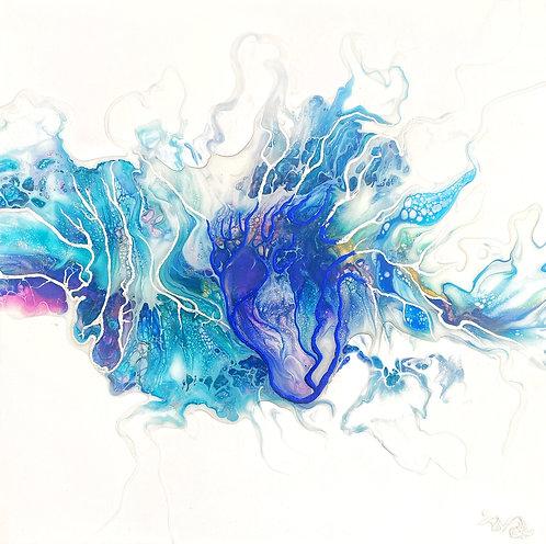 Art abstrait le coeur d'océan