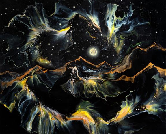 Oeuvre semi-abstraite par l'artiste peintre Mélyna Leclerc