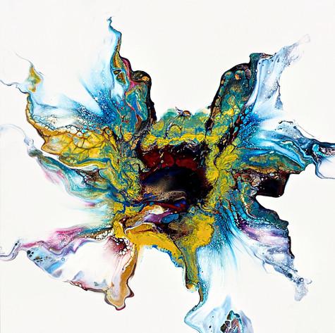 Oeuvre abstraite fluide de l'artiste peintre Mélyna Leclerc
