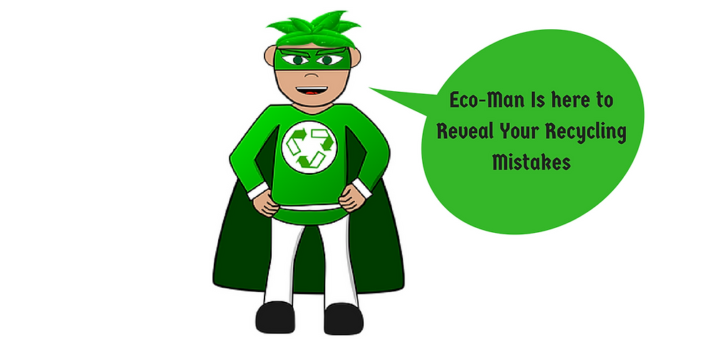 Eco-Man Cartoon Character, Recycling Mistakes